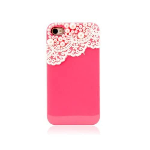 EVERMARKET TM Hand Made Lace and Pearl Hot Pink Hard Case Cover for iPhone 4, 4G and 4S