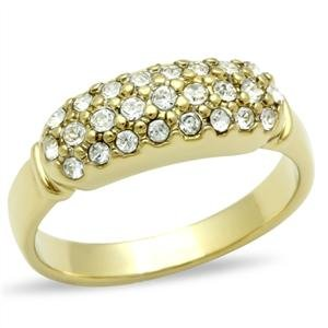 RIGHT HAND RING - Gold Tone Dome Style Ring with Round Cut Top Grade Crystal in Pave Setting