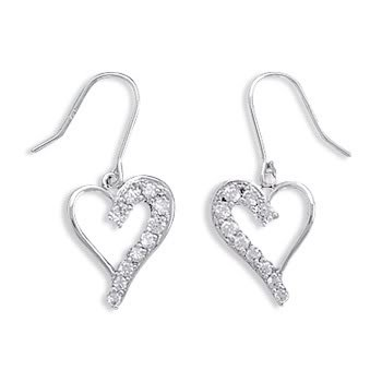 Rhodium Plated Graduated CZ Heart Earrings on French Wire