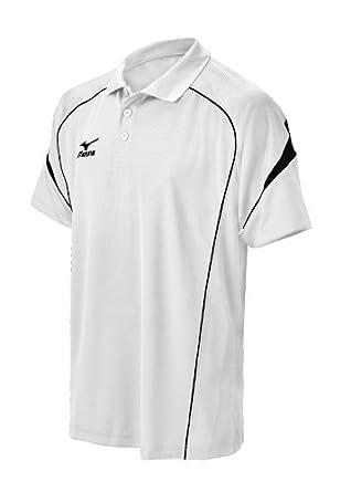 Mizuno Men's Piped Team Polo Shirt (White, X-Small)