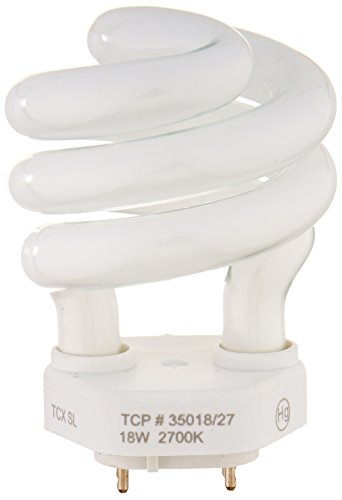 TCP 35018 CFL Spring Lamp - 75 Watt Equivalent (only 18W used!) Soft White (2700K) Spiral TCX Base Light Bulb (Lightbulbs With Prongs compare prices)