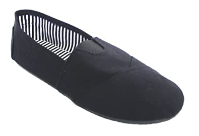 Where can I buy Women Canvas Slip on Flats Black With Black Sole