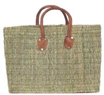 Moroccan Straw Summer Beach / Shopper / Tote Bag 17.5