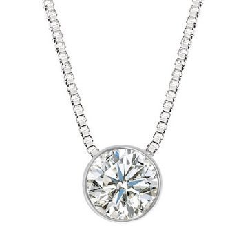 18k white gold necklace best price buy new 02 carat 4 prong 02 carat 4 prong bezel set diamond pendant necklace in 18k white gold with a d f color si3 i1 clarity round brilliant cut diamond with silver chain mozeypictures Images