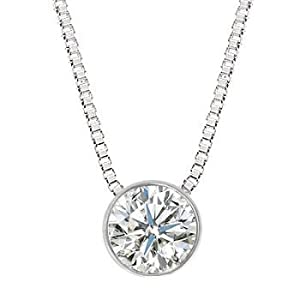 0.75 Carat 4 Prong Bezel Set Diamond Pendant Necklace in Platinum with a G-H Color SI2-SI3 Clarity Round Brilliant Cut Diamond with 14K Gold chain