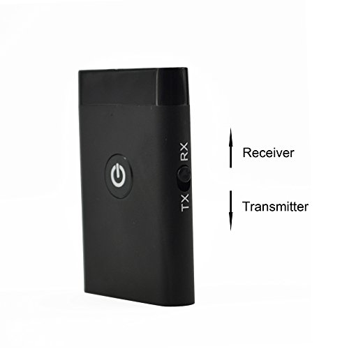 Bluetooth Transmitter and Receiver, Disnix BTT009 Bluetooth Wireless Transmitter and Receiver 2 in 1 Adapter, with 3.5mm Audio Jack For TV, Desktop, Laptop, Tablet, MP3 / MP4 Player, CD and DVD Players, Portable Speakers, Headphones, Home stereo, Car Music Sound Systems and more other 3.5mm Audio Devices-Black
