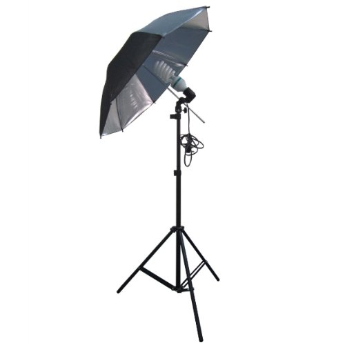 WOODSIDE 135W CONTINUOUS LAMP BULB BLACK UMBRELLA LIGHT STAND KIT PHOTOGRAPHY STUDIO