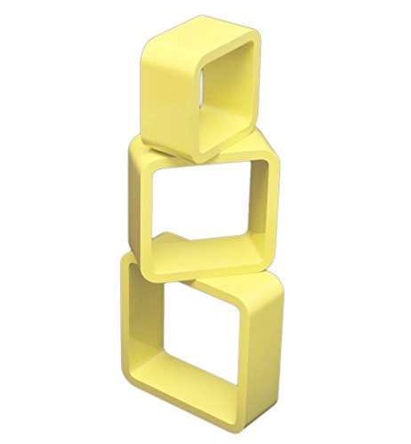 3er Set Lounge Cube Regal Design Retro 70er Wandregal Hängeregal in Gelb