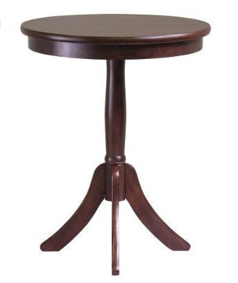 Winsome Wood Belmont End Table with Pedestal Legs, Cappuccino Finish