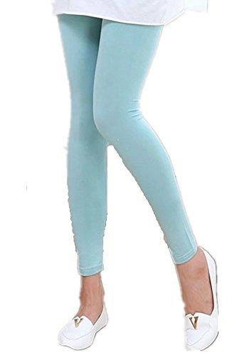 Mullsan Stretch Cotton Solid Color Full Length Long Leggings (Light Blue) (Light Blue Leggings compare prices)