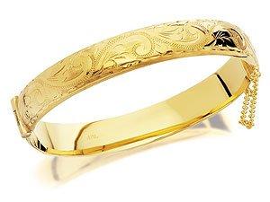 Half Engraved Rolled Gold Bangle - 10mm wide