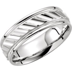 Continuum Sterling Silver 6.75mm Grooved Design Band Size 11