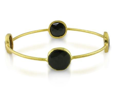 Yellow Gold Plated Silver 16ct TGW Onyx Bangle (8in)
