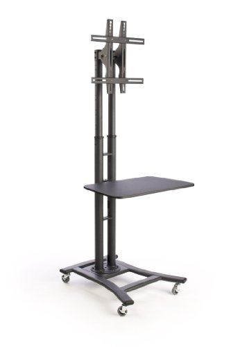 Cheap Mobile TV Stand for a 32 to 60 inch Flat Panel Monitor, 28-inch Shelf, Height-Adjustable and Tilting Bracket – Black (B006YBL0BM)