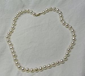 Dazzling 18in Long Faux 8 Mm White Pearls Beaded Necklace Gold Finish Clasp