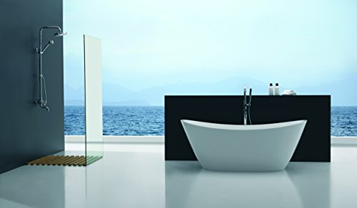 Empava A1518W Luxury Bathroom Freestanding Acrylic Bathtub Soaking Contemporary SPA Tub, White (Bathroom Tub Free Standing compare prices)