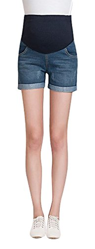 MTRNTY Women's Maternity Elastic Adjustable Waist Denim Shorts Blue Jeans Pocket, Large