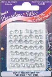 Darice Rhinestone Setter Hot Fix Embellishments 5mm Crystal Glass Stone 49/Pkg 2704-5MM-49; 6 Items/Order