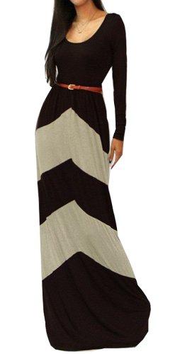Chevron Color Blocked Long Sleeve Empire Waisted Maxi Dress