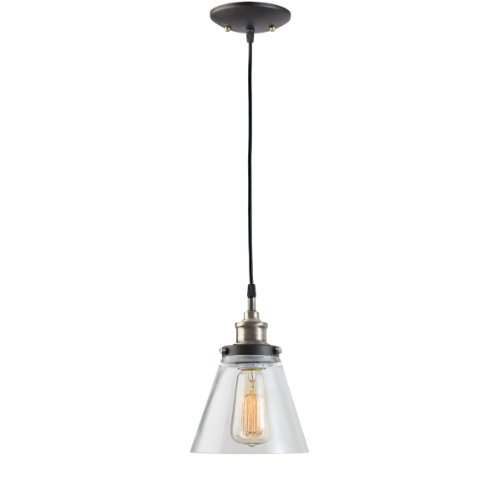 Globe Electric 64750 1 Light Vintage Edison Hanging Pendant Light Fixture, Antique Brass Finish With Glass Shade
