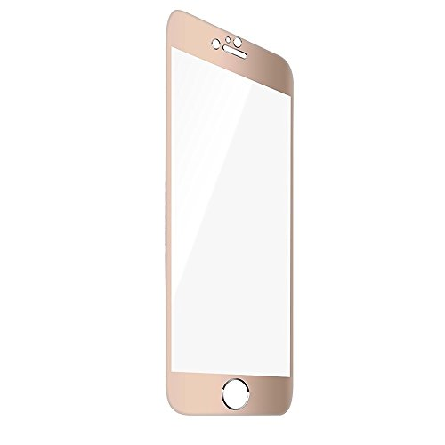 F-color™ Titanium Alloy Full Cover with Front Tempered Glass Screen Protector for iPhone 6 ,iPhone 6S,4.7 inch Maximum Screen Protection from Bumps Drops Scrapes 0.3mm 9H 2.5D HD, Gold