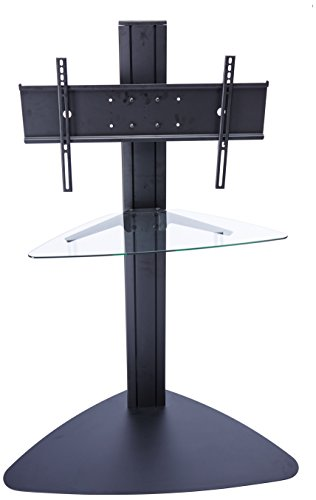 Peerless  SGLB01 Universal Floor Stand with Clear Glass Shelf for 32-inch-50-inch Displays  - Black