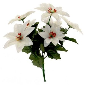 7 Sprays Of White Poinsettia Bush Christmas Flowers