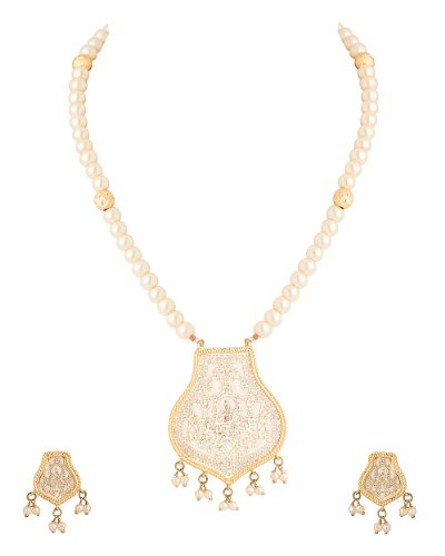 Voylla Necklace Set With Thewa Art, Cream Colour Beads, Ravishing Design (multicolor)