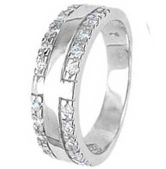 .925 Sterling Silver Promise Ring With Cubic Zirconias on the Sides and Smooth Center