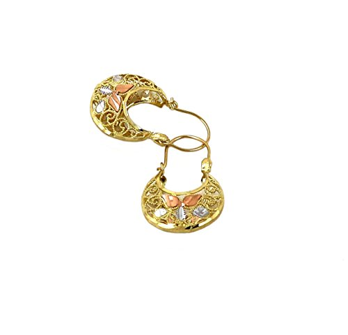 Real 10K Tri Color Yellow, White, & Rose Gold Filigree Basket Hoop Earrings, Height = 25, Width=16 (Filigree Basket compare prices)
