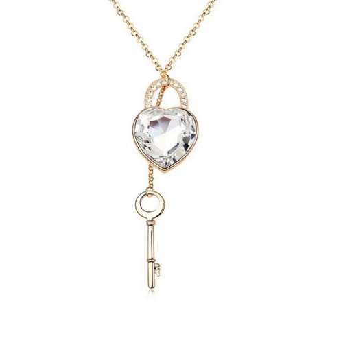 "Alvdis Love Heart Lock Key Style Sterling Swarovski Crystal Long Sweater Chain Pendant Necklace, 30"", White"