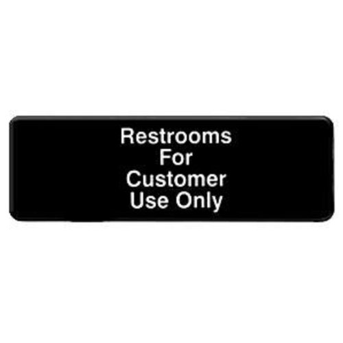 "Thunder Group Plis9321Bk ""Restroom For Customers Use Only"" Information Sign With Symbols, 9 By 3-Inch"