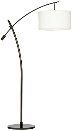 bronze boom arc floor lamp with linen shade. Black Bedroom Furniture Sets. Home Design Ideas