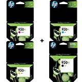 HP 920XL Four Pack Black & Colors INK Cartridge Set (Black CD975AN, Yellow CD974AN, Cyan CD972AN, Ma