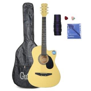 """Moppi LAGERLUFT CSP1 – 38C 38 """"Cutaway Folk-Gitarre mit Tasche Gurt gelb Pick kaufen"""
