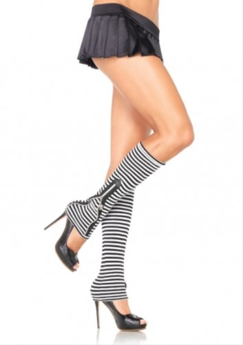 Striped acrylic leg warmers with skull zipper pull accent.