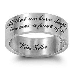 Image of Hail Mary Gifts Men Or Womens Stainless Steel Ring Religious Inspirational Stainless Steel Ring Helen Keller Inscription