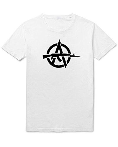 Anarchia Simbolo pistola da uomo Tshirt White Medium