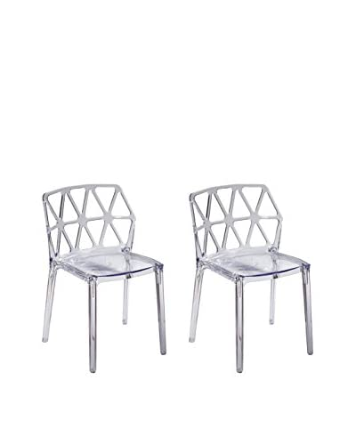 Manhattan Living Set of 2 Zig Zag Dining Chairs, Clear