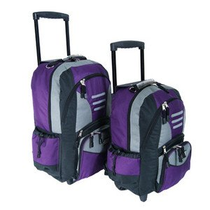 """SET OF 2 TWIN HANDLE WHEELED TROLLEY Backpack Rucksack Size 18"""" AND 22"""" (COLOUR PURPLE) Rucksacks/Backpacks 30/50, Lightweight Luggage Set Of Large And Small Cabin Trolley Backpacks Good Value,Double wheels for added stability, IDEAL FOR,FLIGHT TRAVEL LUG"""