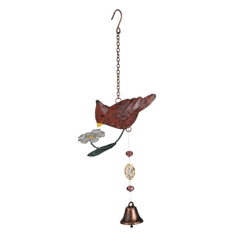 Grasslands Road Metal Cardinal Decorative Mobile With Bell, 12-Inch, 4-Pack