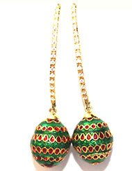 EthniqChiq Gold Plated Cubic Zirconia Studded Dangle  Drop Earring For Women Green Gold  Maroon