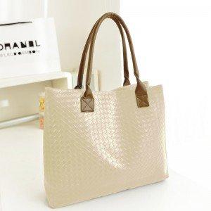 Borsa donna a mano shopping bag MWS AHEAD modello Jolie da spalla trama a maglia eco pelle. MWS (BEIGE)
