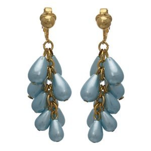 Nuala Gold Blue Pearl Drop Clip On Earrings
