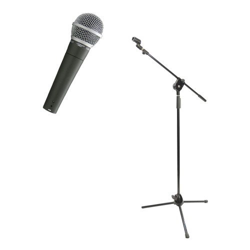 Pyle Mic And Stand Package - Pdmic58 Professional Moving Coil Dynamic Handheld Microphone - Pmks3 Tripod Microphone Stand W/ Extending Boom