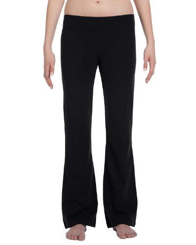 Ladies' Cotton/Spandex Fitness Pants, Color: Black, Size: Xx-Large front-836779