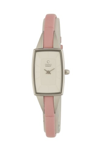 Obaku By Ingersoll Ladies Silver Dial Pink Leather Strap Watch
