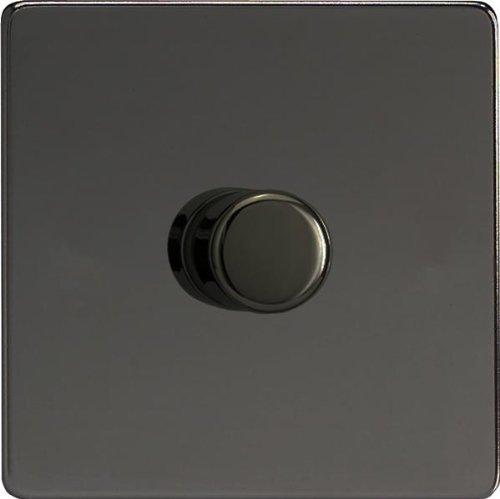 Varilight, Iridium Black, Dimension Screwless, LED Dimmer Switch - V-Pro Series, 1 Gang (Single), 1 or 2 Way, 400 Watt (Trailing Edge)