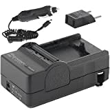 Panasonic NV-DS27 Camcorder Battery Charger (110/220v with Car & EU adapters) - Replacement Charger for Panasonic CGR-D08, CGR-D16, & CGR-D28 - UK Adapter Included