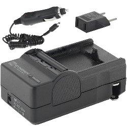 Mini Battery Charger Kit for Olympus LI-10B & LI-12B Batteries – with fold-in wall plug, car & EU adapters